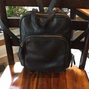 Awesome Margot mini black leather backpack
